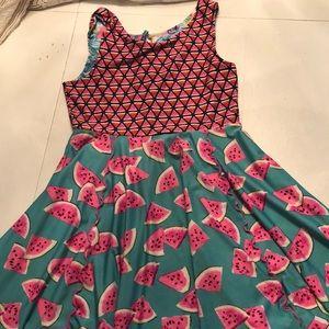 Watermelon/flower reversible kids dress